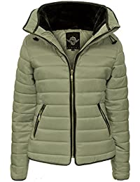 Crazy Girls Womens Ladies Faux Fur Collared Hooded Quilted Padded Puffer Bubble Jacket Coat XS-XL (XL, Stone)