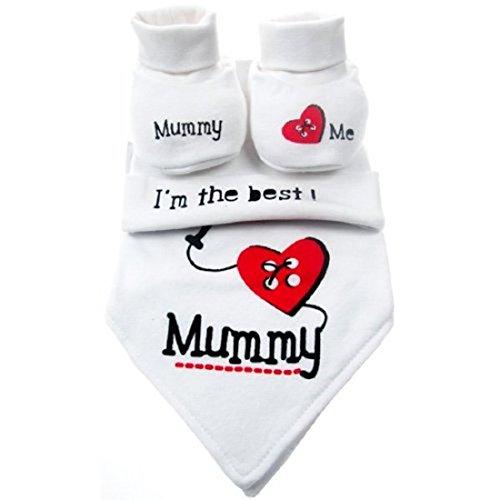 Set unisex per neonato, 0-3mesi, con morbidi bavaglini, berrettini e scarpine con scritte in inglese