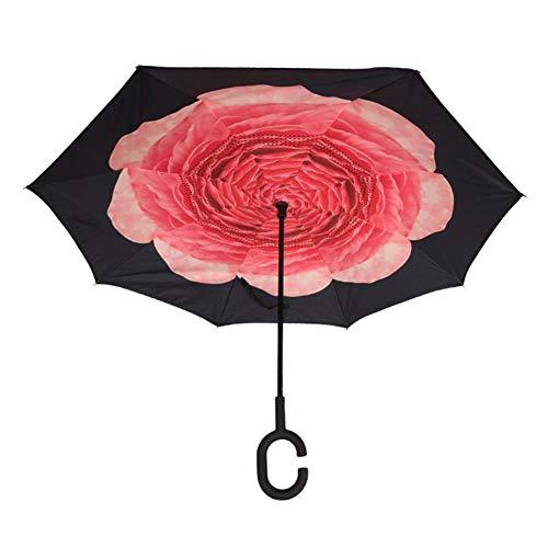 wangwtry Outdoor-Regenschirm Doppelschicht-Regenschirm C-Griff Anti-Splashing Umbrella Wasserdichter Winddichter, Gerader Stick Umbrella Auto-Regenschirm Mit Buntem Regenschirm Zum Einkaufen Abgehend
