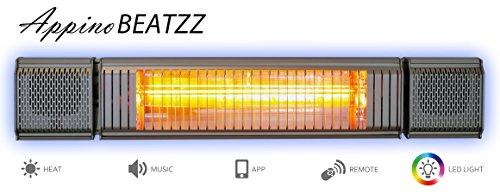 VASNER Appino BEATZZ Grau Grey Infrarotstrahler Terrassenstrahler dimmbar 2000 Watt mit Bluetooth, LED Backlight Licht, Musik-Lautsprecher Außenbereich mit Abdeckhaube AirCape M - 2