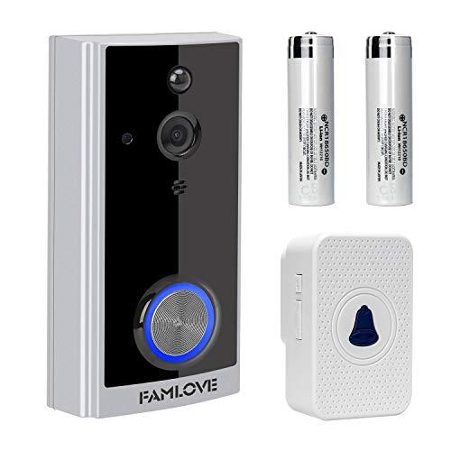 Preisvergleich Produktbild Smart Home Video Türklingel Kamera Kabellos WLAN,720P HD Türklingeln Überwachungskamera batteriebetrieben Cloud-Speicher mit Türgong,IP66 Wasserdichte,2-Wege-Gespräch, Nachtsicht, Bewegungserkennung