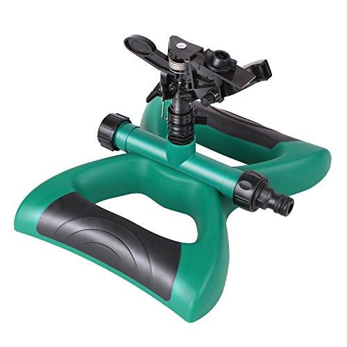 FIXKIT Aspersor de Riego de Rotación de 360 ° con Contrapesos Adecuado para Césped Patio Jardín Distancia de Pulverización de 16 Pies Color Verde y Negro