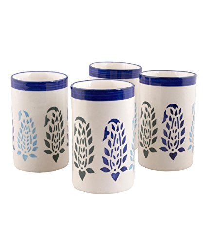 VarEesha Blue Paisley Handcrafted Ceramic Glasses Set of 4- Kitchen/ Dinner Sets/ Glass Sets/ Gift Items/ Crockery for Kitchen- 200ml each  available at amazon for Rs.499