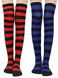 Damen Kniestrümpfe - Overknee Strümpfe Streifen Lange Socken Retro Knitting Strümpfe Mädchen Cheerleader Sportsocken Baumwollstrümpfe (Rot+Blau)