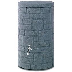 Regentonne Regenspeicher Arcado 230 Liter Farbe black granit aus UV- und witterungsbeständigem Material. Regenfass bzw. Regenwassertonne mit kindersicherem Deckel und hochwertigen Messinganschlüssen.