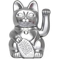 Lucky Cat. Der klassische Glücksbringer in winkender Katzengestallt oder Maneki-Neko in fröhlichen Farben. SILBER: Viel Glück im Geschäft. 10x6x15cm