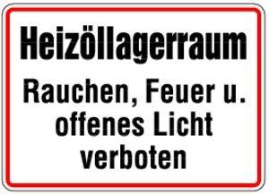 Unbekannt 1173. Heizöllagerraum - Folie HEIZÖLLAGERRAUM RAUCHEN.VERB. - 200x300mm