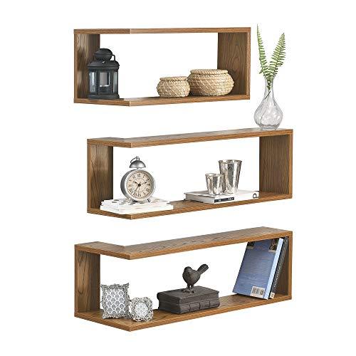 [en.casa] mensola da parete angolare forma 'l' scaffale in set di 3 pezzi in 3 misure effetto legno noce