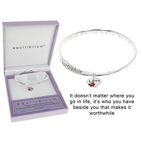 Equilibrium 54352 - Bracciale placcato in argento, motivo amore/cuore, con messaggio d'amore, prodotto nuovo