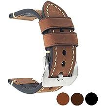 Cinturino di ricambio in vera pelle, per orologio vintage, da uomo o donna, con fibbia in acciaio inossidabile, 20 x 22 x 24 mm, Brown