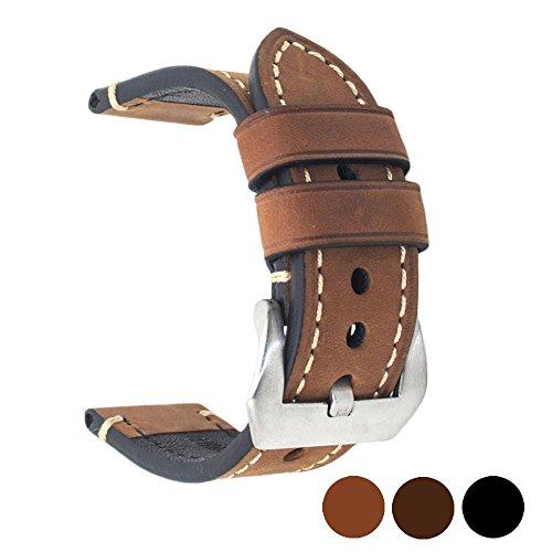 Ersatz-Uhrenarmband aus echtem Leder, für Herren und Damen, mit Edelstahl Schnalle, Schwarz, Braun, Breite 20mm, 22mm, 24mm, braun