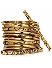 My Design Traditional Wedding Gold Plated Bridal Chura Bangles Bracelet Set For Women And Girls(size-2.6)