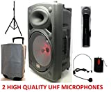 Mak 700w 12'UHF Portable PA Attivo Altoparlante Bluetooth Karaoke 2 Wireless Mic USB