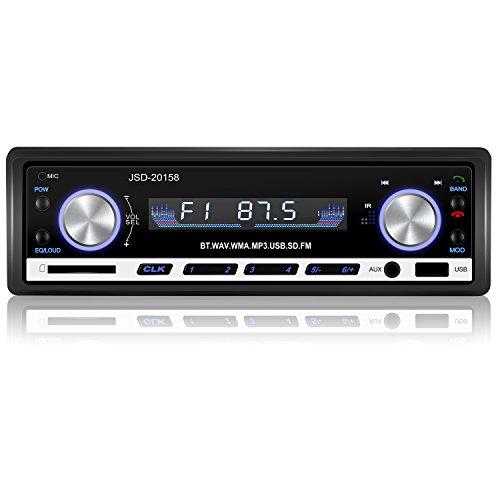 YOHOOLYO Autoradio Bluetooth Poste Radio Voiture Auto Radio Adapteur ISO Support USB SD MM AUX MP3 MP4 MP5 Téléphone FM Stéréo HI-FI