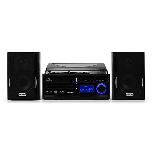 Auna DS-2 Space Line • Chaîne stéréo • Compacte • Platine Vinyle • Lecteur CD • Entrées USB/SD • Enregistreur MP3 • Horloge intégrée • Fonction réveil • Minuteur • Noir