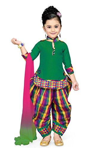 Aarika Baby Girl's Self Design Cotton Silk Ethnic Kurti, Patiala and Dupatta...