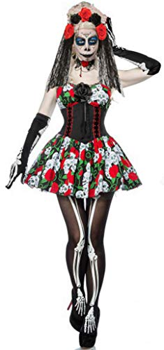 Für Immer Junge Damen Tag der Toten Kostüm Sugar Skull Kleid Skelett Kostüm Womens Halloween Fancy Dress UK 12 EU 40