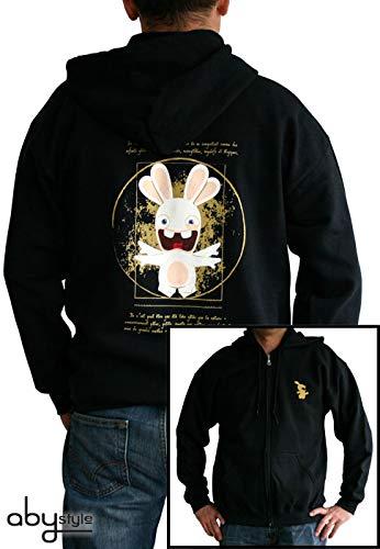 Kostüm Da Vinci Et - ABYstyle abystyleabyswe004-m Abysse Lapins Cretins Raving Kaninchen Da Vinci Man Sweat Shirt (mittel)