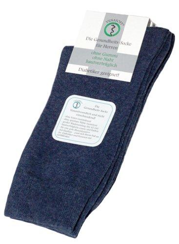Venasoft 2 Paar Herren Diabetiker Quater Kurzschaft-Socken ohne Gummizug, mit handgekettelter Spitze, aus ÖkoTex Baumwolle, jeans, Gr. 47-50 (Jean 47)