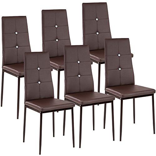 Tectake set di sedie per sala da pranzo 40x42x97cm | - disponibile in diversi colori e quantità – (6x marrone | no. 402544)