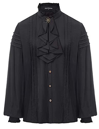 ren Renaissance Kostüm Langarm Rüschenbluse mit Schnürung Schwarz Größe S ()