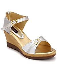 Rimezs Silver Solid Buckle Closure Casual And Party Wear Wedges Sandal For Women And Girls