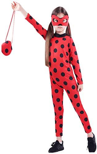 Kostüm Kinder Cartoon - Cartoon Miraculous Ladybug Marienkäfer Hüfthalter mit Päckchen Party Cosplay Kostüm Kind und Erwachsener verfügbar (Small(5-6Y), Rot für Kinder