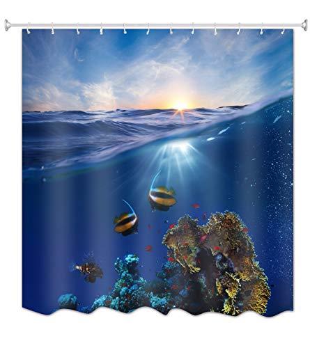 A.Monamour Blau Ozean Meer Marine Leben Koralle Fisch Blauer Himmel Hell Sonnenschein Landschaft Bild Drucken Textil Lang Dick Duschen Vorhang 150X180 cm / 60