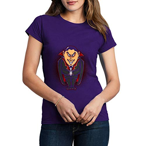 A488WCNTP Damen T-Shirt Vampire Evil Horror Hero Cape Color Cartoon Ink Hand Drawn Drawing Tattoo Classic Vintage(Small,Purple)