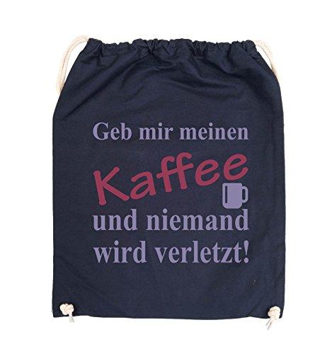 Comedy Bags - Geb mir meinen Kaffee und niemand wird verletzt! - Turnbeutel - 37x46cm - Farbe: Schwarz / Weiss-Neongrün Navy / Violet-Fuchsia