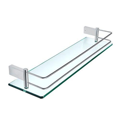 Sayayo Estante de vidrio templado para baño con riel montado en la pared...