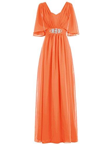 Bbonlinedress Lang Chiffon Ruched Beadings mit Ärmel Promi-Kleid Abendkleider Orange