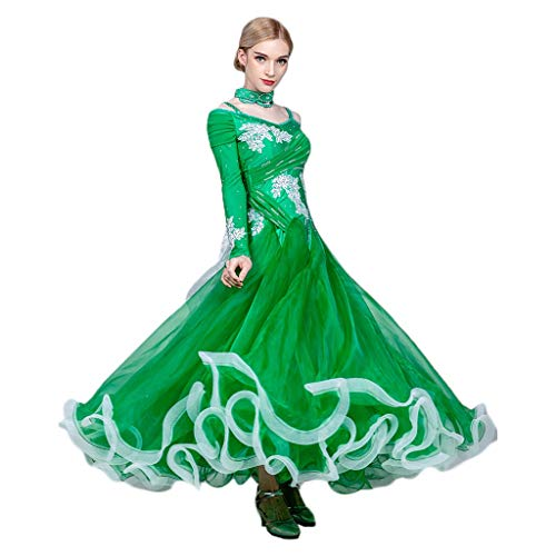 Swing Performance Kostüm Tanz - Waltz Ballroom Dance Kleider Für Damen Langarm, Standard Tanz Performance Kostüm Big Swing Competition Flamenco Rock Mit Strass (Color : Green, Size : S)