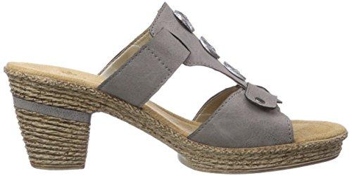 Rieker 69092, Chaussures de Claquettes femme Gris - Grau (staub / 42)