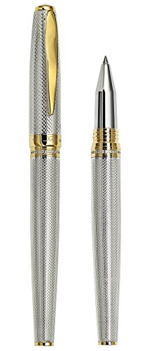 Best Xezo Solid 925 Sterling Silver Serialized Fine Rollerball Pen, 18K Gold Plated with Screw-On Cap. Swarovski Crystals Band (Maestro 925 Sterling Silver R-G) on Amazon