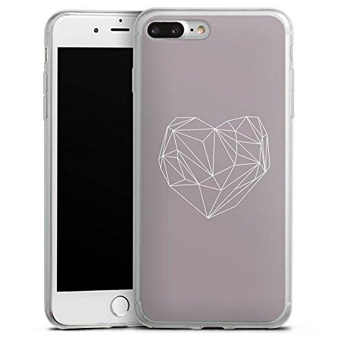 Apple iPhone 8 Plus Slim Case Silikon Hülle Schutzhülle Herz Liebe Love Silikon Slim Case transparent
