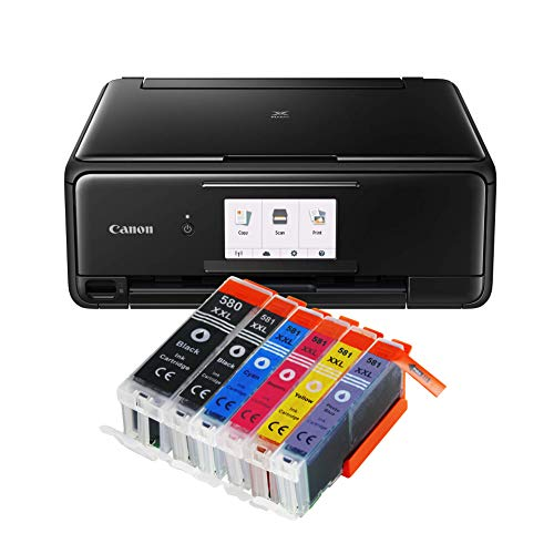 Canon Pixma TS8150 TS-8150 All-in-One Farbtintenstrahl-Multifunktionsgerät (Drucker, Scanner, Kopierer, CD-Druck, USB, WLAN, LAN, Apple AirPrint, SD-Karte) Schwarz + 6er Set IC-Office 580XXL 581XXL