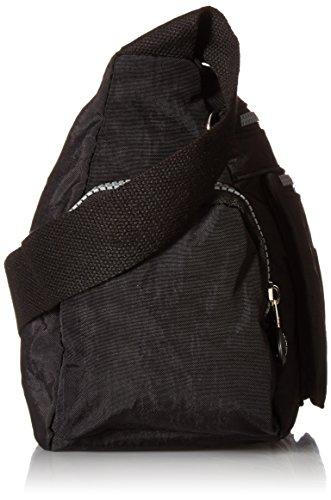 Tiny Chou - Borsa messenger a tracolla, in nylon leggero e impermeabile, con numerose tasche e cerniere Nero (nero)