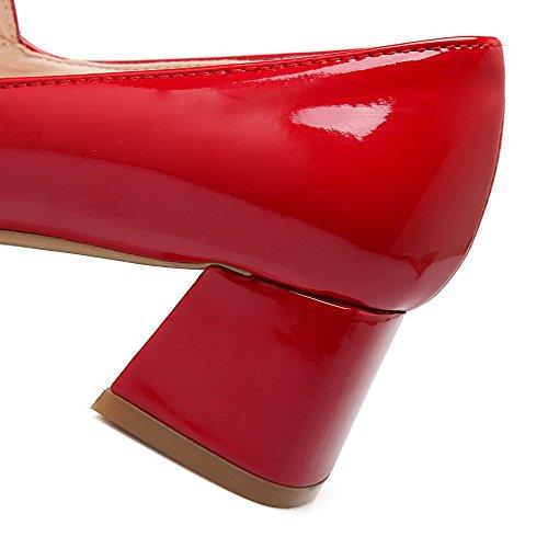 Odomolor Donna Tirare Punta Quedrata Punta Chiusa Tacco Medio Pelle di Maiale Puro Ballerine Rosso