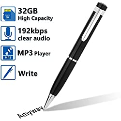 Enregistreur Vocal Numérique, Enregistreur Vocal Audio Lecteur MP3 avec Carte Micro SD de 32 Go, Câble USB, Lecteur de Carte, 5 Recharges