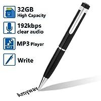 Penna registratore vocale, Registratore vocale digitale Registratore penna Registratore audio Dittafono Lettore MP3 con scheda Micro SD da 32 GB, cavo USB, lettore di schede, 5 ricariche per conferenze, interviste, discorsi