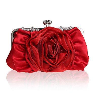 Frauen in Handarbeit Hochwertige Blume Diamant Seide und Satins Partei/Abend Tasche Ruby