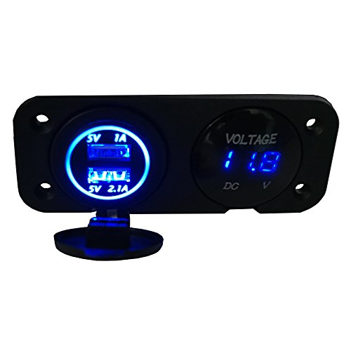 Linchview Dual USB Ladegerät und Volmeter für Auto Boot Marine LKW Motorrad RV ATV Fahrzeuge GPS Handy Kamera Mp3