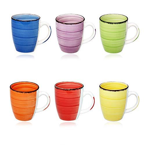 DRULINE Kombiservice Uni: Kaffeebecher 6er-Set (Orange, Blau, Gelb, Grün, Lila, Rot)