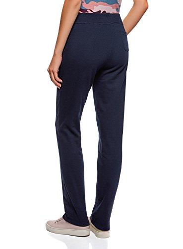 oodji Ultra Damen Jersey-Hose mit Bindebändern Blau (7900N)