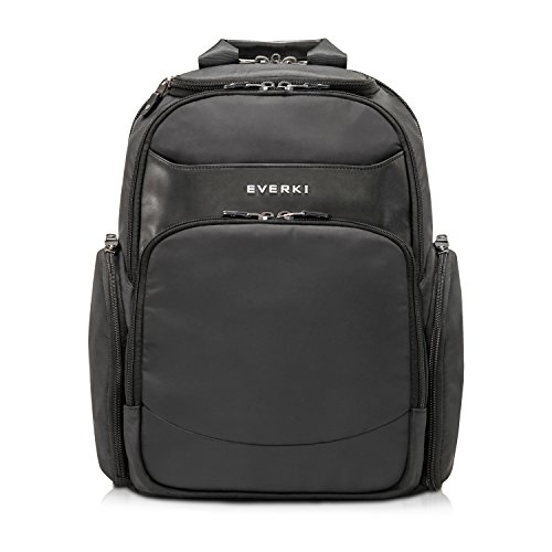 Everki Suite - Premium Laptop Rucksack für Notebook bis 14 Zoll (35,6 cm) mit patentiertem Laptop-Ecken-Schutz-System, Brillen-Hartschalenfach und weiteren hochwertigen Funktionen, Schwarz