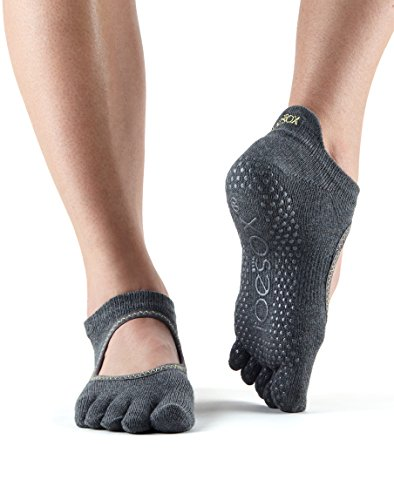 Toe Sox Full Toesox BELLARINA Yoga-Socken, Unisex Erwachsene M Grau (Charcoal Grey)