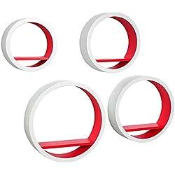 WOLTU RG9231rt Lot de 4 Étagère Murale Ovale pour Livres/CD/DVD,rétro étagère en MDF,Blanc Corail Rouge