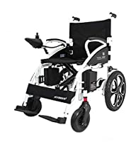 TX Electric wheelchair foldable and lightweight intelligent automatic multifunction low back lead-acid batteries, white