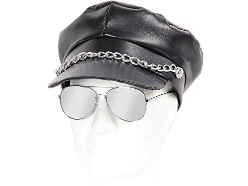 Alsino 80er Jahre Rocker Outfit Ymca 2-teilig (Kv-12) Greek Cap Schwarz plus Pilotenbrille Silber verspiegelt